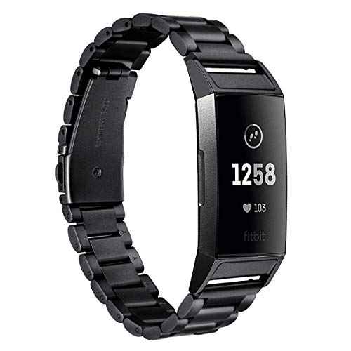 Metal Strap Compatible with Fitbit Charge 3 Charge 4 Bands Replacement Straps Stainless Steel for Charge 3 Smartwatch Men&Women (Black)