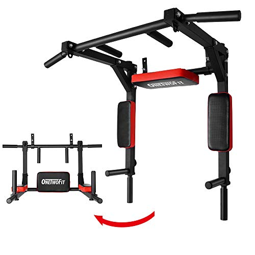 ONETWOFIT Multifunctional Wall Mounted Pull Up Bar/Chin Up bar, Dip Station for Indoor Home Gym Workout, Power Tower Set Training Equipment Fitness Dip Stand Supports to 440 Lbs OT126