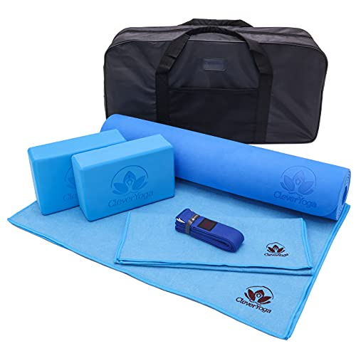 Clever Yoga Kit 7 Piece Essentials Beginners Bundle Including Ultra Thick Mat, 2 Blocks, 8 Foot Yoga Strap, Hand Towel and Large Towel and Carrying Bag (Blue)