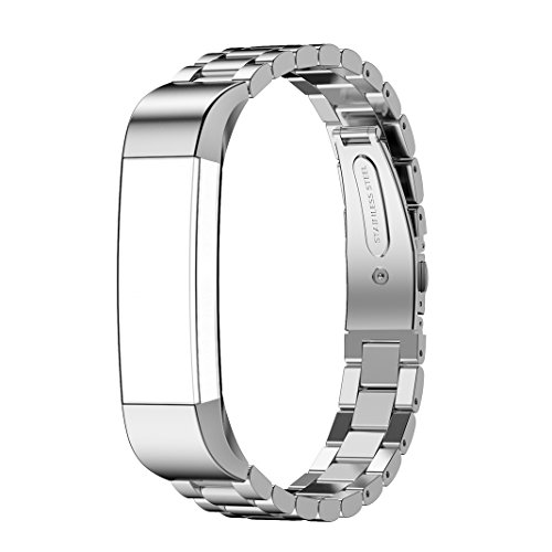 For Alta Watch Strap, AISPORTS Alta HR Stainless Steel Band Smart Watch Adjustable Replacement Straps Bracelet Buckle Clasp for Alta/Alta HR Fitness Accessories - Silver