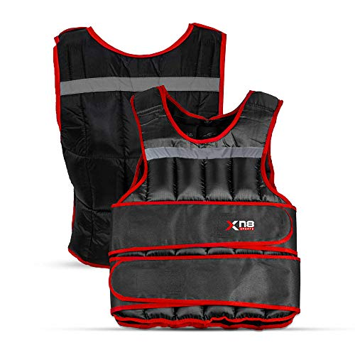 Xn8 Weighted Vest Adjustable 10kg 15kg 20kg Removable Weights Running Training Weight Loss Jacket Workout-Exercise Black and Red