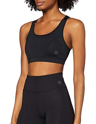 Amazon Brand - AURIQUE Women's Low Impact Strappy Sports Bra, Black (Black), XS, Label:XS