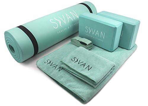 Sivan 6-Piece Yoga Set- Includes 1/2 Ultra Thick NBR Exercise Mat, 2 Yoga Blocks, 1 Yoga Mat Towel, 1 Yoga Hand Towel and a Yoga Strap (Teal)