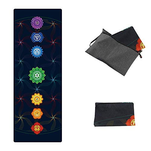 PIDO Printed Travel Yoga Mat Eco Suede Rubber Light Weight Traveling Yoga Mat Non Slip For Yoga Studio and Home Yoga,Coming with Carrying Bag (Colorful)