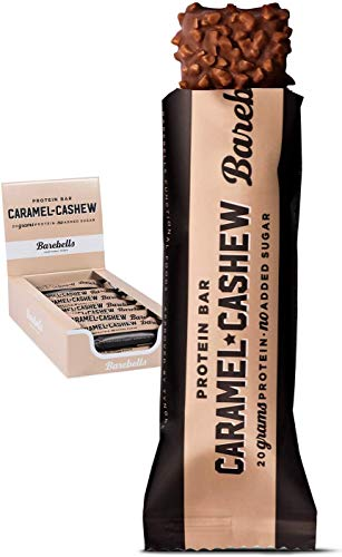 Barebells Protein Bar | Caramel Cashew 12 x 55g | High Protein Low Carb Low Sugar | 20g of Protein in Every 55g Bar | Delicious Indulgent Protein Bars for Muscle Performance & Recovery