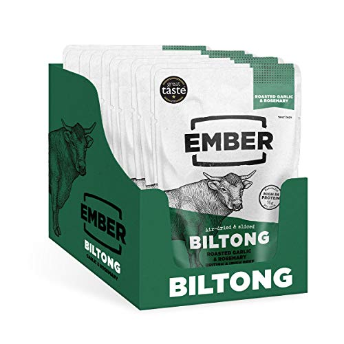 Ember Snacks Biltong Garlic and Rosemary Flavour High Protein Snack from British and Irish Beef in 10 x 28g Bags