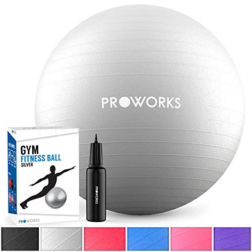 Proworks Small Exercise Ball, Gym Ball 55cm Anti-Burst with Pump, Swiss Ball for Yoga, Pilates, Pregnancy & Fitness - Silver