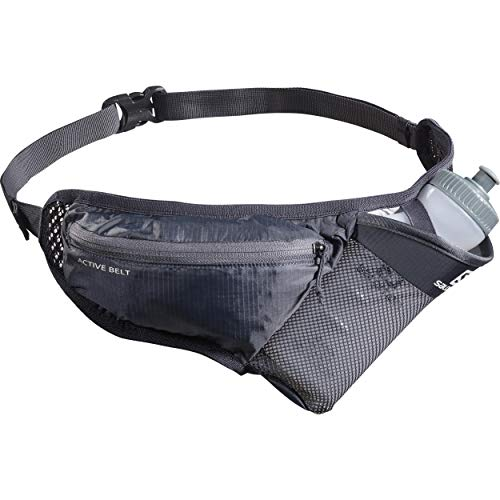 Salomon Hydration Belt, 3D Bottle 600 ml Included, Active Belt, Black (Ebony/Black), LC1246600