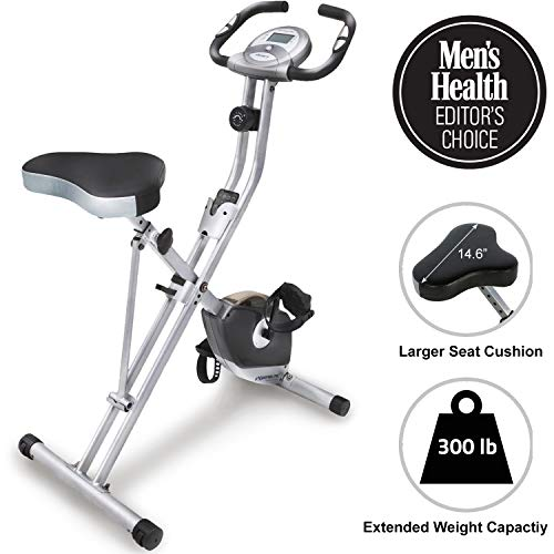 Exerpeutic Folding Magnetic Upright Bike with Pulse and maximum weight capacity of 300 pounds / 136 kg