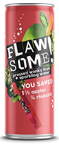 Flawsome! Drinks - Apple & Rhubarb Lightly Sparkling Juice Drink – No Added Sugar 100% Pressed Fruit Juice Water - Fizzy Rhubarb Fruit Drink - Low Calories Healthy Soda Alternative (24 x 250ml)
