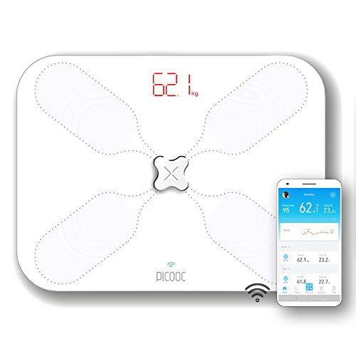 PICOOC S3 Lite Body Fat Scales WiFi App Artificial Intelligence Extra Wide Design Body Analysis Scales for Body Fat Water Muscles Apple Android, White