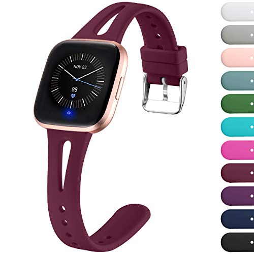 Ouwegaga Replacement Strap Compatible with Fitbit Versa Strap/Fitbit Versa 2 Strap, Soft Silicone Slim Narrow Band Compatible with Fitbit Versa Lite, Women Men Small Large, Wine Red