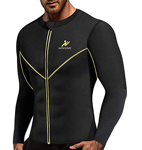 NINGMI Men Long Sleeve Sweat Sauna Shirt Neoprene WeightLoss Workout Body Shaper Fitness Jacket with Zipper Waist Trainer
