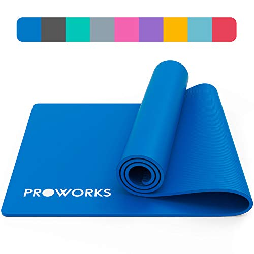 Proworks Yoga Mat, Eco Friendly NBR, Non-Slip Exercise Mat with Carry Strap for Yoga, Pilates, and Gymnastics - 183cm x 60cm x 1cm - Blue