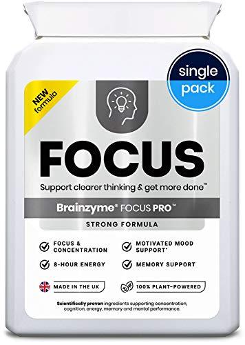 Brainzyme® Focus Pro: Stronger Formula Nootropic ('Alpha Brain Smart Pill'): 6318mg 20 actives inc. Tyrosine, Choline = Dopamine Motivation Supplement + 8 Hour Energy Boost (Single Pack)