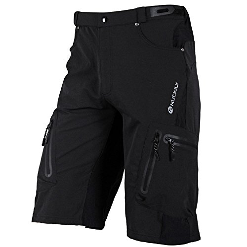 NUCKILY Men's Mountain Bike Cycling Shorts Cargo Bicycle Loose Fit Lightweight Pants Fast-Drying Breathable Baggy MTB Shorts for Outdoor Cycling Running Gym Training Riding
