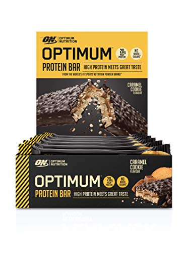Optimum Nutrition Protein Bar with Whey Protein Isolate, Low Carb High Protein Snacks with No Added Sugar, Caramel Cookie, 10 Bar (10 x 60 g)