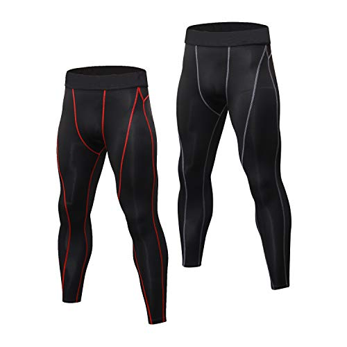 Niksa 2 Pack Mens Compression Running Leggings Gym Workout Tights Base Layer Pants