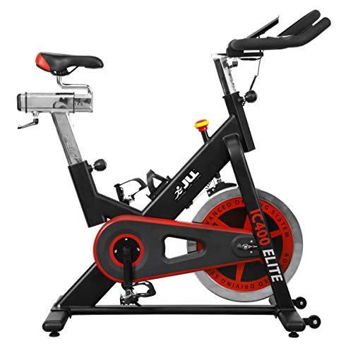 JLL® IC400 ELITE Indoor Bike, Direct Belt Driven Exercise Bike For Home, 20kg Flywheel, Friction Resistance, Monitor, Heart Rate Sensors, Adjustable Seat, 12 Months Domestic Warranty