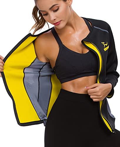 SEXYWG Sauna Suit for Women Sweat - Neoprene Slimming Jacket Zipper Long Sleeve Hot Suits Waist Trainer Top Body Shaper