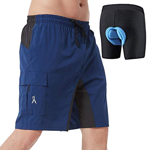 Mens Mountain Bike Biking Shorts, Bicycle MTB Shorts, Loose Fit Cycling Baggy Lightweight Pants (Blue M)