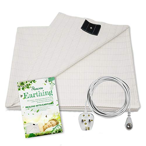 RASHION Earthing Bed Sheet 36x91 inch with Grounding Connection Cord, Conductive Grounding Mat with UK Adaptor for Better Sleep and Boost Your Health