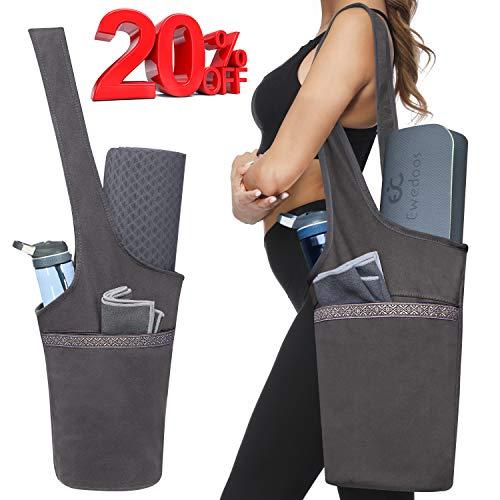 Ewedoos Yoga Mat Bag with Large Size Pocket and Zipper Pocket, Fit Most Size Mats (Gray)