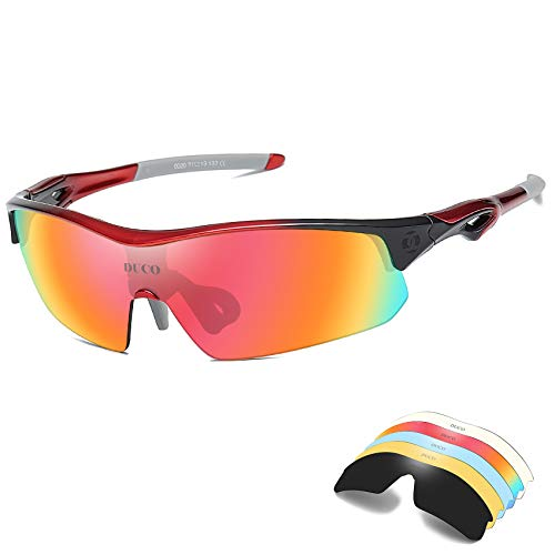 DUCO Polarized Sports Sunglasses with 5 Interchangeable Lenses UV400 Protection Sports Sunglasses for Cycling Running Glasses (Red)