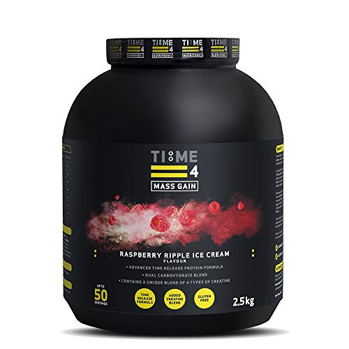 Time 4 Mass Gain – Mass Gainer Whey Protein Powder with 4 Types of Creatine – Best Tasting Weight Gain Powder (Raspberry Ripple Ice Cream, 2.5kg)