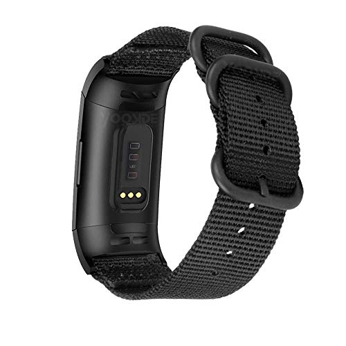 YOOSIDE Nylon Strap Compatible with Fitbit Charge 3, NOTA Woven Nylon Band Strap Metal Stainless Steel Ring Adjustable Wristband for Fitbit Charge 3/Fitbit Charge 3 SE, (Black)