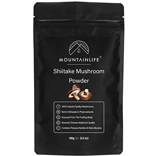 Mountainlife Shiitake Mushroom Powder 100g, Authentic Natural Ground Shiitake Mushroom Powder, Fruiting Body Hardwood Log Grown, Chinese Di Tao Sourced, Nootropic Supplement