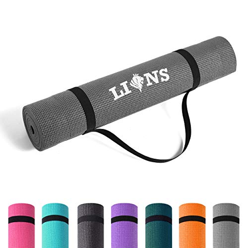 Lions Yoga Mat with Carry Straps - Multi Purpose Eco Friendly Mats | 6MM Thick | Non Slip | Ideal for Exercise | Gymnastic | Stretching | Gym | Pilates | Fitness (183 x 61 x 0.6 cm, Charcoal)