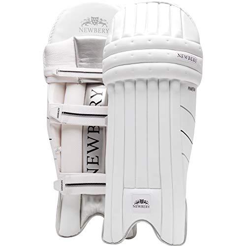 Newbery Cricket Unisex-Youth Phantom Batting Pads, White/Silver, Small Senior