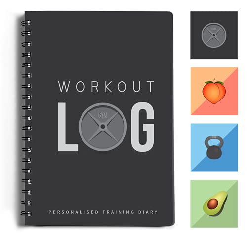 Workout Log Gym - XL A5 Gym, Fitness and Training Diary- Set Goals, Track 100 Workouts and Record Progress - Charcoal Grey