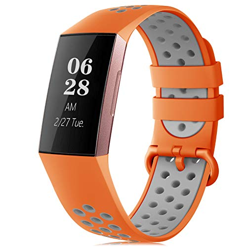 RIOROO Strap Compatible for Fitbit Charge 3/Charge 4 Strap, Silicone Replacement Wristband Breathable Holes for Women Men, Sport Watchbands Grey Orange(NO TRACKER)