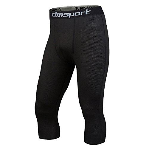 Men's Compression 3/4 Capri Shorts Cool Dry Baselayer Sports Tights Leggings, Black, S