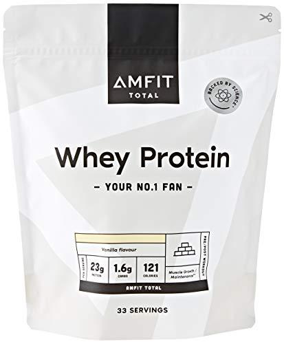 Amazon Brand - Amfit Nutrition Whey Protein Powder 1kg - Vanilla (Previously PBN brand)