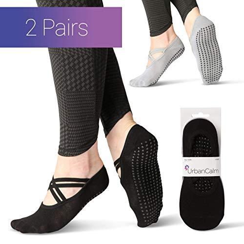 Urban Calm Eco Bamboo Yoga Socks Non Slip (2 Pairs) For Women Providing Grips And Ballet Style Straps. Eco Friendly Socks For Yoga, Pilates, Ballet & Dance. Suitable For Womens Sizes 3-8
