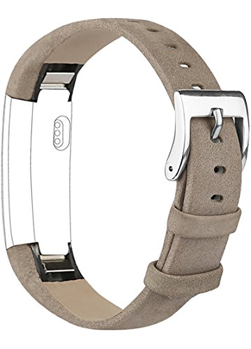 Vancle replacement wrist band for Fitbit Alta leather, comfortable, adjustable, with stainless steel claps (no tracker included), grey