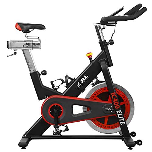 JLL IC400 ELITE Indoor Bike, Direct Belt Driven Exercise Bike For Home, 20kg Flywheel, Friction Resistance, Monitor, Heart Rate Sensors, Adjustable Seat, 12 Months Domestic Warranty, Black and Red