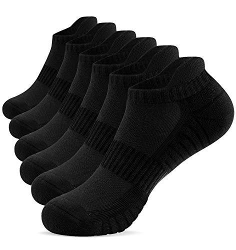 TANSTC Running Socks Anti-Blister Cushioned Cotton Socks Trainer Socks for Men Women Ladies Sports Low Cut Breathable Athletic Socks Ankle Socks (6 Pairs)