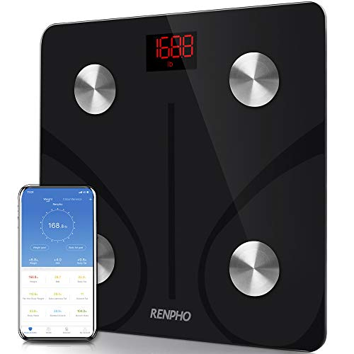 RENPHO Body Fat Scale Bluetooth, Digital Body Weight Bathroom Scales Weighing Scale with Smart BMI Scale, Body Composition Monitors with Smartphone App, Black
