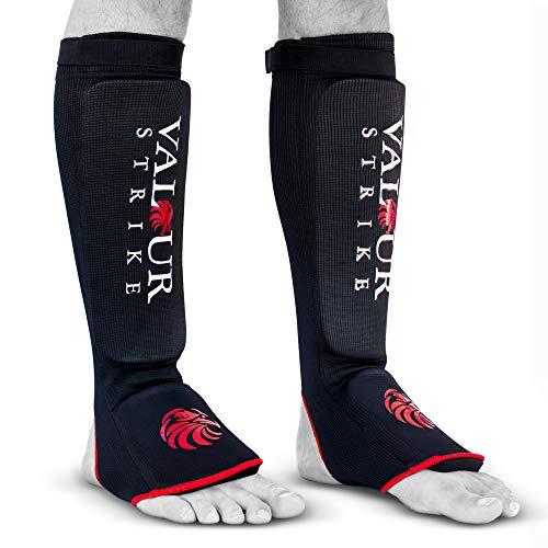 Valour Strike MMA Shin Guards Sock Foam Pad Support Kickboxing Muay Thai Leg Pads Protective Gear Boxing Foot Shinpads (XL)