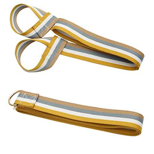 Kueimovi Yoga Strap, Durable 7.8FT Adjustable Extra Long Yoga Belt Strap with 4.9FT Yoga Mat Belt Holder Strap Shoulder Carrier(Yellow Striped)