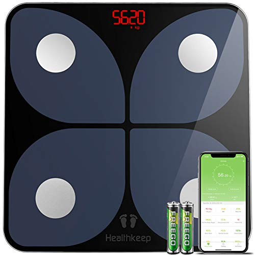 Body Fat Scale, Smart Bathroom Weight Scale Wireless BMI Body Composition Monitor, High Precision Health Analyzer with Smartphone App for Fitness Tracking 180kg