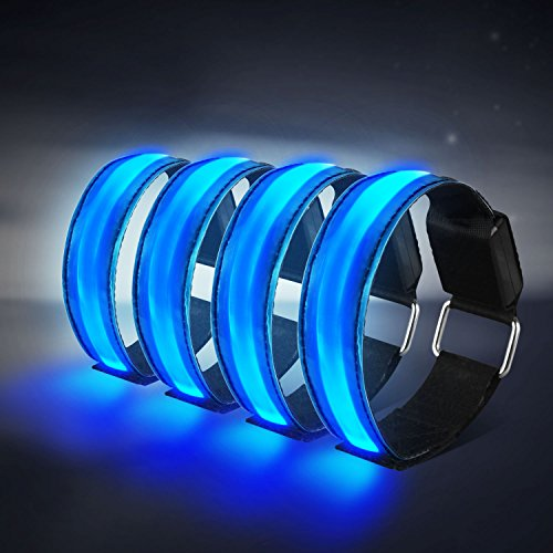 Tabiger Led Armband, 4-Pack Glow Bracelet Safety Wristband Ankle Reflective Strips with Flashing Lights for Night Sports Running Cycling (Blue)