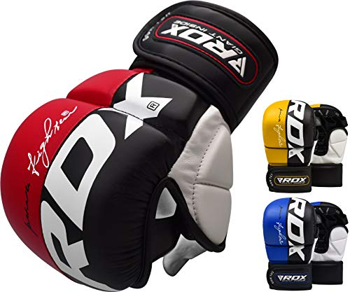 RDX MMA Gloves Grappling Martial Arts Punching Bag Maya Hide Leather Mitts Sparring Cage Fighting Combat UFC Training, Red, M