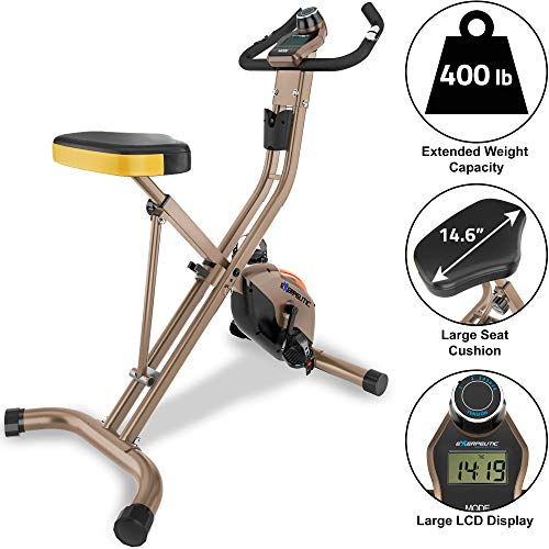 Exerpeutic Unisex Adult Gold 500 XLS Folding Upright Exercise Bike - Gold, N/A