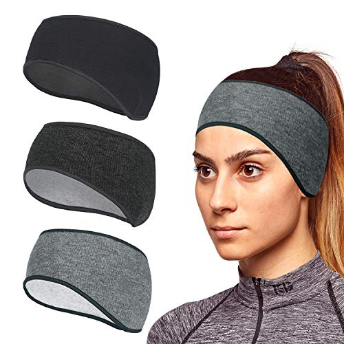 TAGVO Winter Sports Headbands, 3 Pack Thermal Stretchy Ear Warmers Moisture Wicking Running Head Bands, Men and Women Athletic Ear Muffs Ski Head Bands - Fit for Yoga, Cycling, Basketball, Fitness