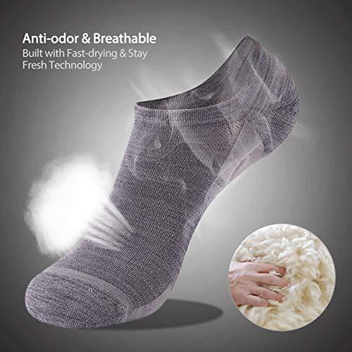 ZEALWOOD Men's 3 Pairs Running Socks Sport Athletic Merino Wool Cushion Brethable Anti-blister Casual Sock for Men & Women